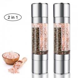2 in 1 Salz-/Pfeffer-/Kräutermahlwerk - mit einstellbarer Körnung - Edelstahl