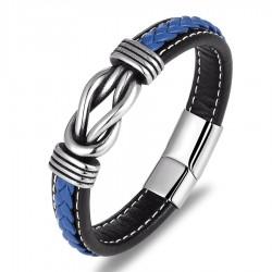 Vintage leather bracelet - irregular graphic - with metal locking clasp