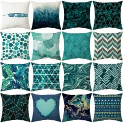Cushion cover - teal blue color - polyester - 45 * 45 cm