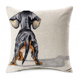Cushion cover - with dogs pattern - linen - 45 * 45cm