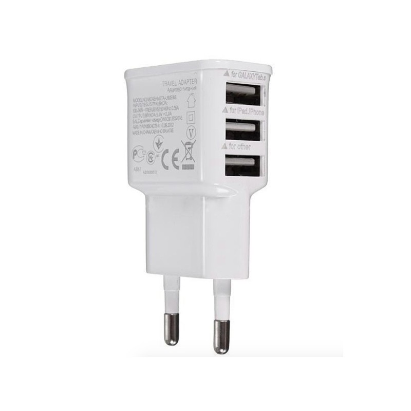 Chargeur 3 ports USB - smartphone - tablet - prise UE