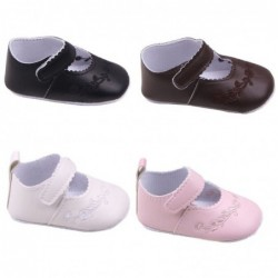 Leather shoes - with flower design - newborns / babies