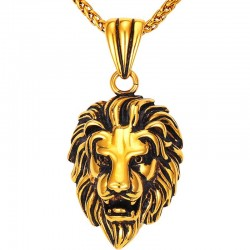 Necklace with lion charm - unisex - gold color - stainless steel - giftt