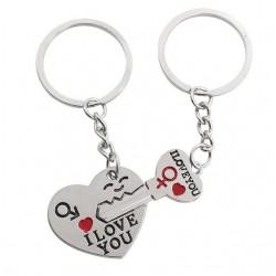 I Love You - porte-clés en métal cœur et clé - 2 pièces