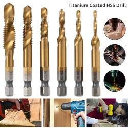 1/4 Inch 6542 Titanium coated - combination metric deburr countersink drills - hex shank - 6 pieces