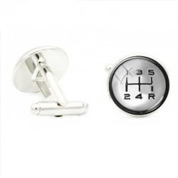 5-speed gear lever - car joystick - round cufflinks