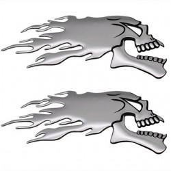3D Chrom Ghost Skull Head - Auto & Motorrad Aufkleber 2 Stück