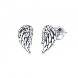 WOSTU sterling silver stud earrings - angel wings design for women - gift
