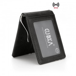 Slim leather wallet - unisex - for business / credit cards / money holder - RFID protected