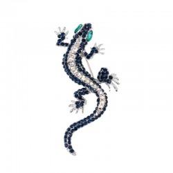 Navy blue lizard - crystal brooch for women