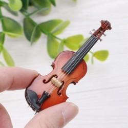 Mini-Holzgeige - Musikinstrument - Miniaturdekoration - mit Ständer / Koffer