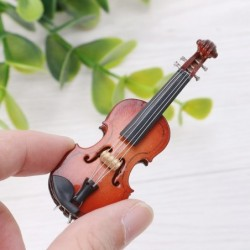 Mini wooden violin - musical instrument - miniature decoration - with stand / case