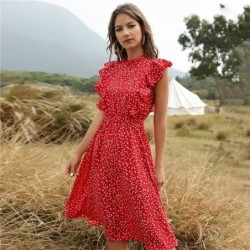 Summer dotted dress - with ruffles sleeves - midi - chiffon