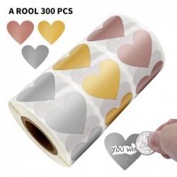 Etiketten in Herzform - Kratzaufkleber - 2,5cm - 300 Stück