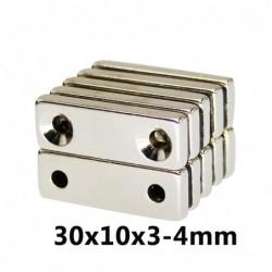 N35 - Neodym-Magnet - rechteckig - mit doppelten 4mm Löchern - 30 * 10 * 3mm