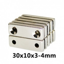 N35 rectangular magnet - with double holes - 30 * 10 * 3.4mm - 20 / 30 / 50 pieces