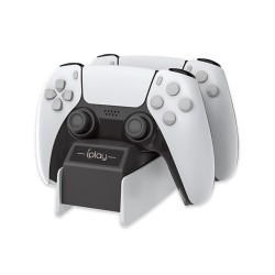 Dual USB charger - charging dock - LED - detachable - wireless - for PS5 controller