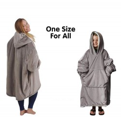 Warm velvet pajama - oversized - with pockets / hood - reversible - soft blanket - unisex