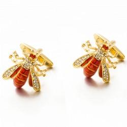 Bienenförmige Metallmanschettenknöpfe - mit Kristallen