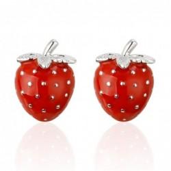 Strawberry shaped - metal cufflinks