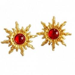 Vintage kolczyki w kształcie słońca / słonecznika - z czerwoną perłą