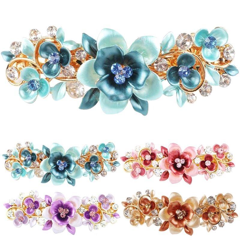 Rhinestone hair clip for women - butterfly design with cyrstal flower  - decor for hair