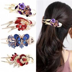 Butterfly flower crystal hair clip for women - rhinestone chignon