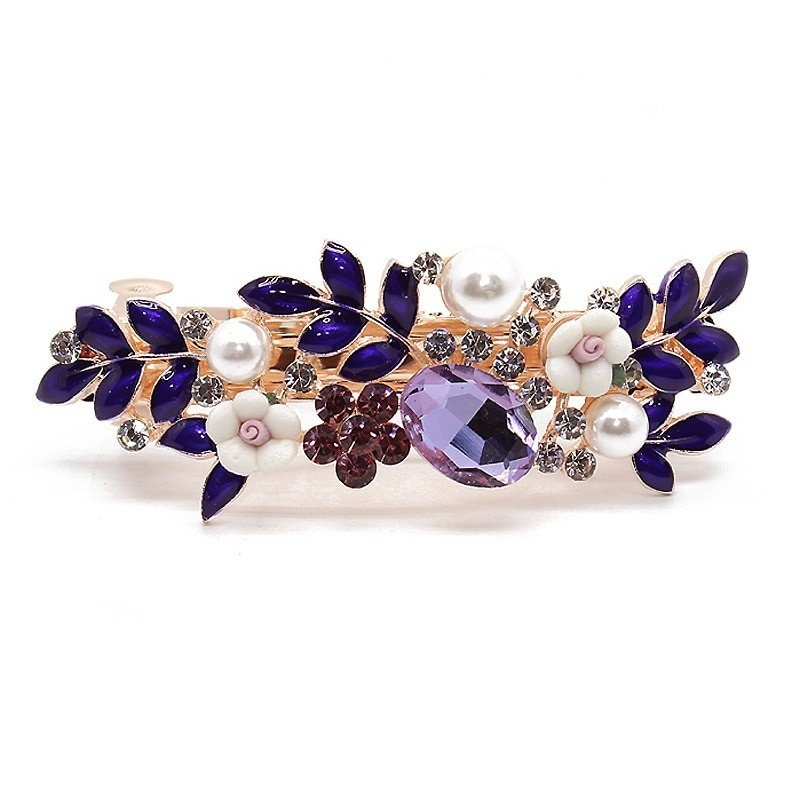 Luxury purple crystal hair clip for women - floral leaf design with diamant