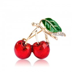 Elegant brooch with red crystal cherry