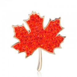 Maple leaf shaped - crystal brooch