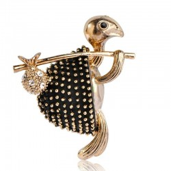 Turtle with stick - crystal brooch - unisex