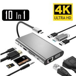 USB Typ-C - HUB Typ-C auf HDMI 4K VGA Adapter - RJ45 Lan Ethernet - SD - TF - 3,5mm Klinke