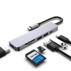 USB HUB-C HUB Adapter - 6 in 1 USB-C auf USB 3.0 HDMI - Splitter