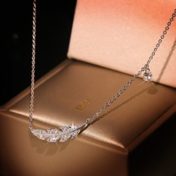 Silver feather necklace -...