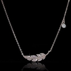 Silver feather necklace - 925 sterling silver