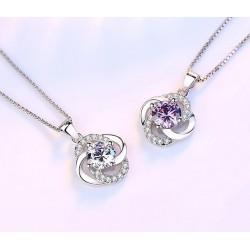 Vierblättriges Kleeblatt aus Kristall - Halskette aus 925er Sterlingsilber - 45cm