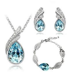 Austrian crystal feather / water drop - necklace / earring / bracelet - jewellery set