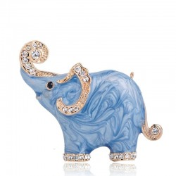 Elephant shaped - enamel brooch - with crystal decorations