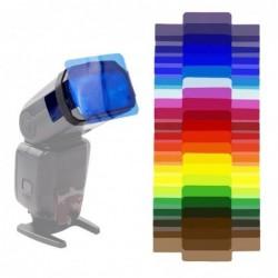 Universal camera flash gels - transparent color correction - balance lighting filter - kit - 20 pieces