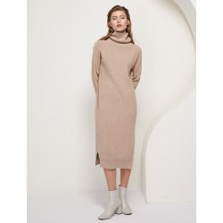 Loose knitted dress - long sweater - with turtleneck / long sleeve