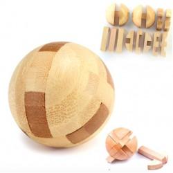 Bola de madera - rompecabezas de bloqueo - juguete educativo de desbloqueo