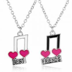Best Friends - notas musicales / colgante en forma de corazón - collar 2 piezas