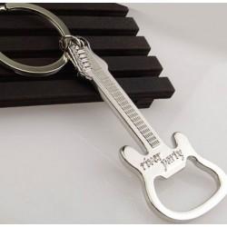 Guitar shaped bottle opener - metal keychain