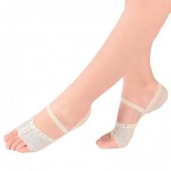 Ballet / dance socks - open toe / protective leather pads - mesh / rhinestones