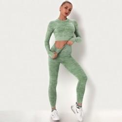Seamless camouflage fitness set - o-neck - long sleeve shirt / leggings