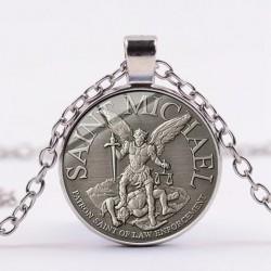 Necklace with Archangel St.Michael - glass gem pendant