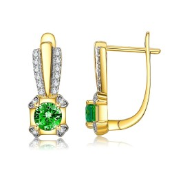 INALIS Gold Plated Stud Earrings For Women Square Green Copper Earring Female Wedding Fashion Jewelry Hot Selling Festival Gift