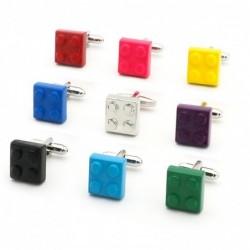 Block cufflinks muti-color bricks design