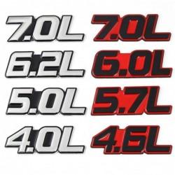 3D-Metall-Autoaufkleber - Emblem in Motorgröße - 4.0L - 7.0L