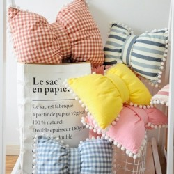 Nordic style bow shaped pillow - strawberry / watermelon / pineapple / lemon printing